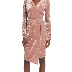 Leith Ruched Velour Wrap Dress
